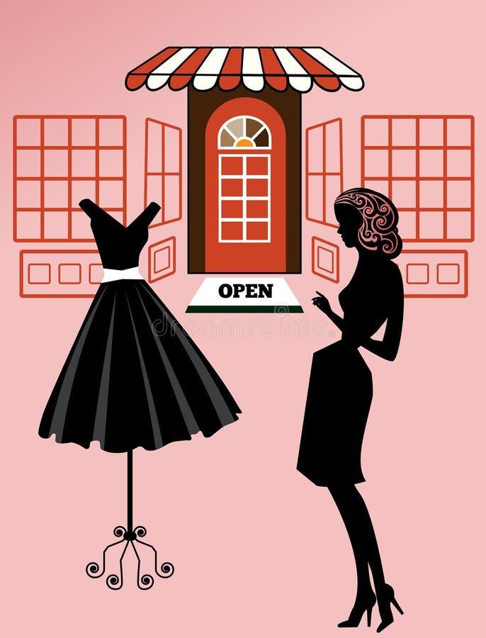 妇女礼服购物 向量例证