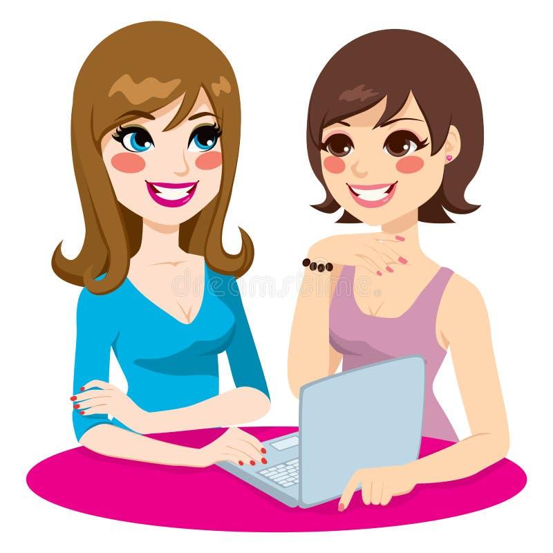 妇女社交网络 库存例证