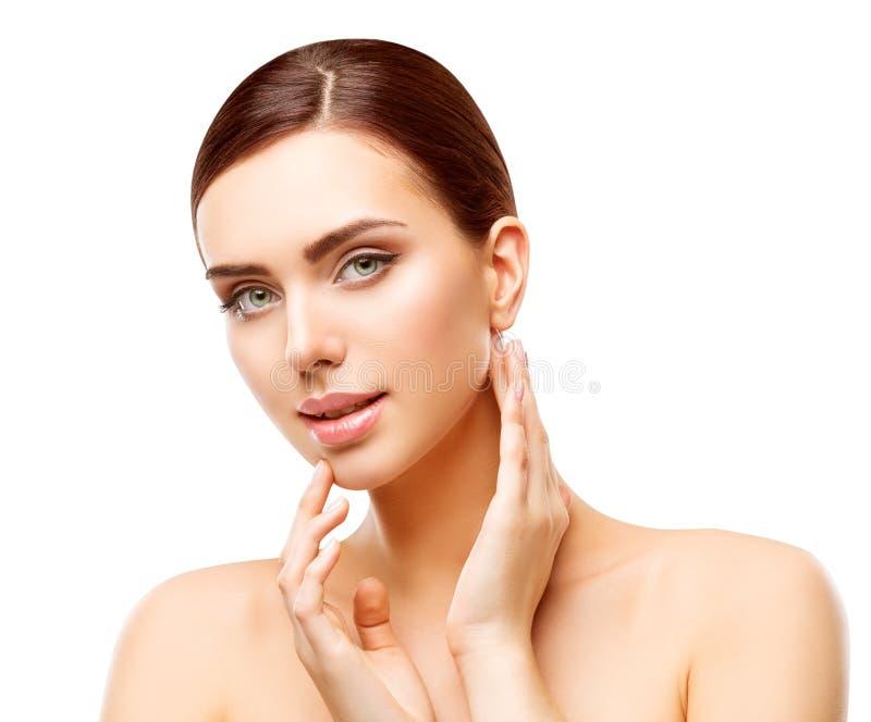 妇女秀丽构成,自然面孔组成,身体护肤 免版税库存照片