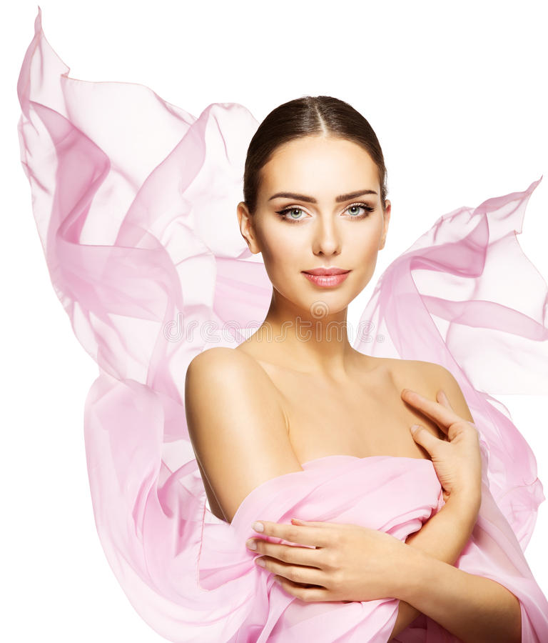 妇女秀丽面孔,年轻时装模特儿构成护肤画象 免版税库存照片