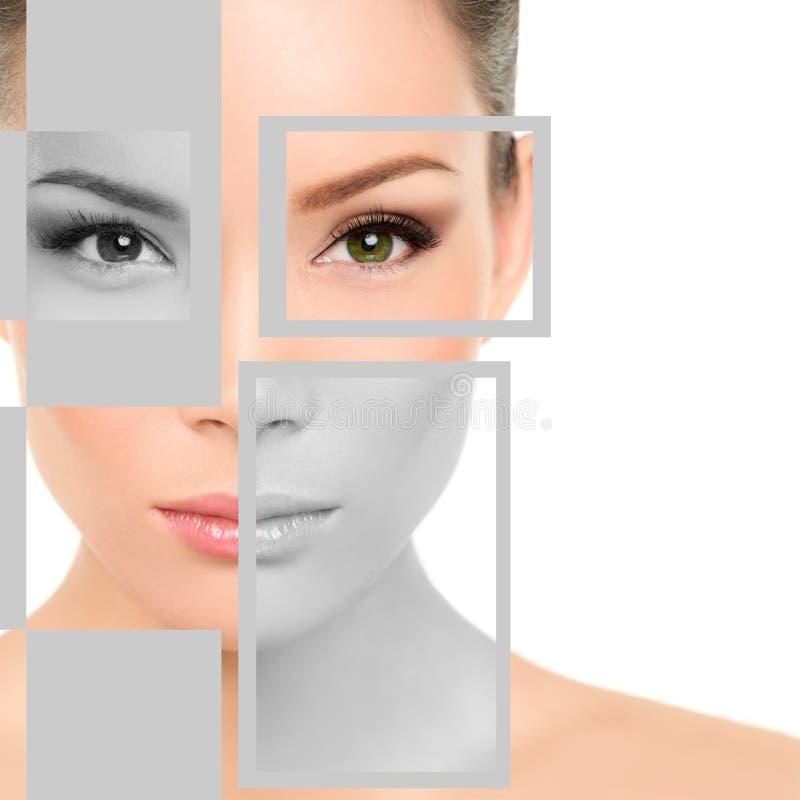 妇女秀丽画象和几何形状在面孔 免版税库存图片