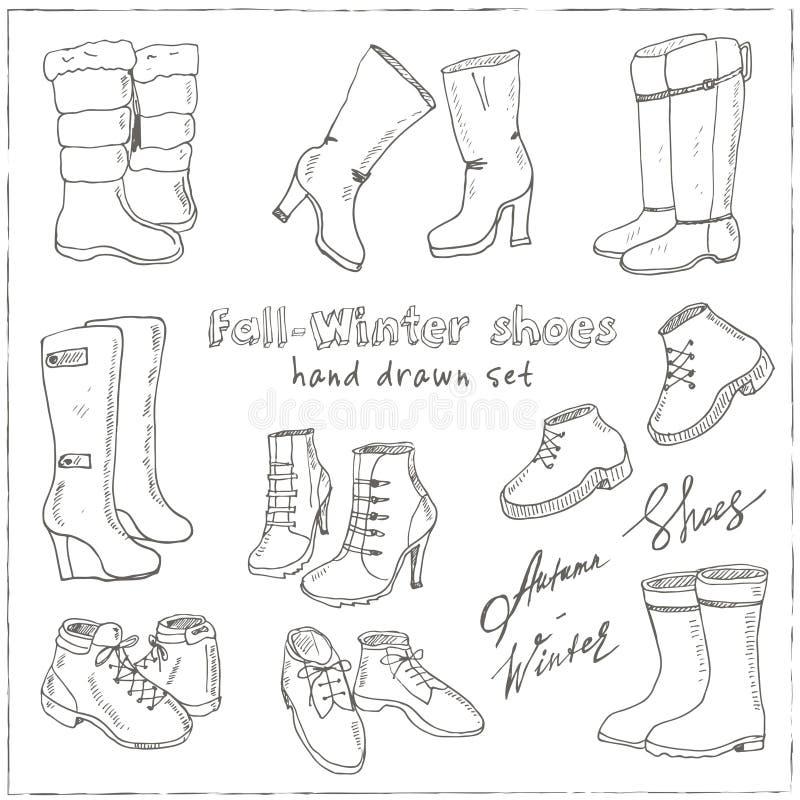 妇女秋天和冬天鞋子,被设置的起动的传染媒介例证 手淹没鞋类例证 皇族释放例证