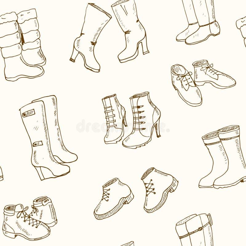 妇女秋天和冬天鞋子,被设置的起动的传染媒介例证 无缝的模式 皇族释放例证
