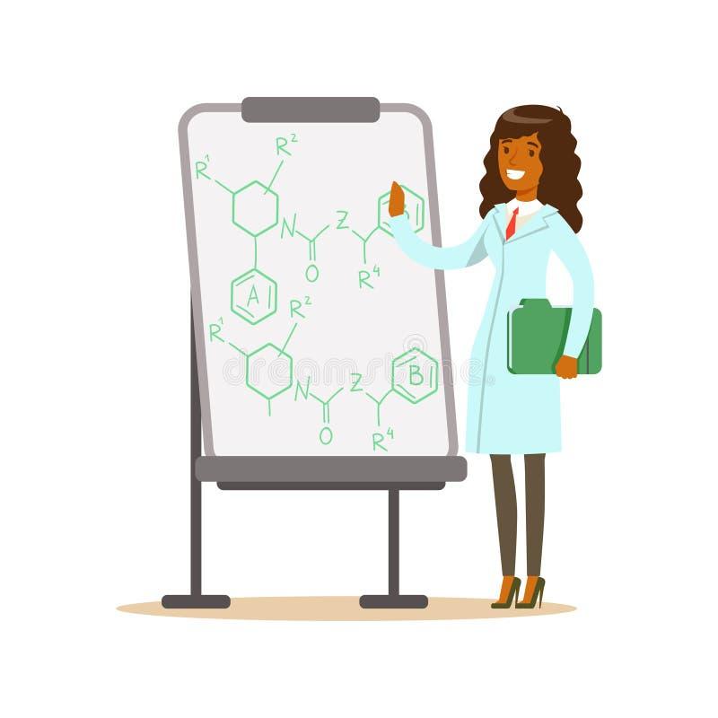 妇女科学家在与惯例的whiteboard旁边站立 库存例证