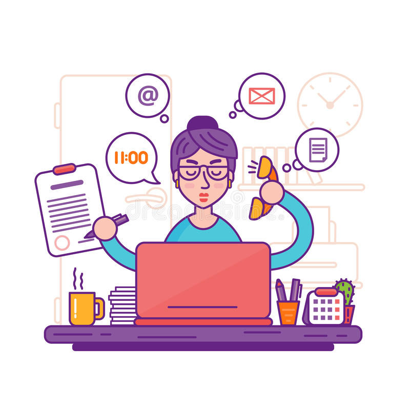 妇女秘书或女性个人助手传染媒介例证 向量例证