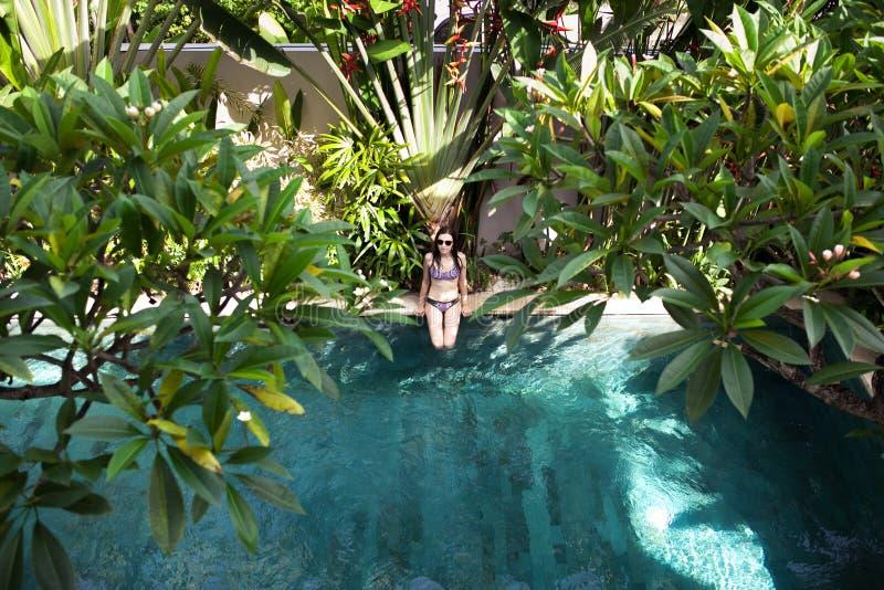 妇女空中顶视图比基尼泳装开会的在棕榈和树中的边缘游泳池从上面放松,热带 库存图片