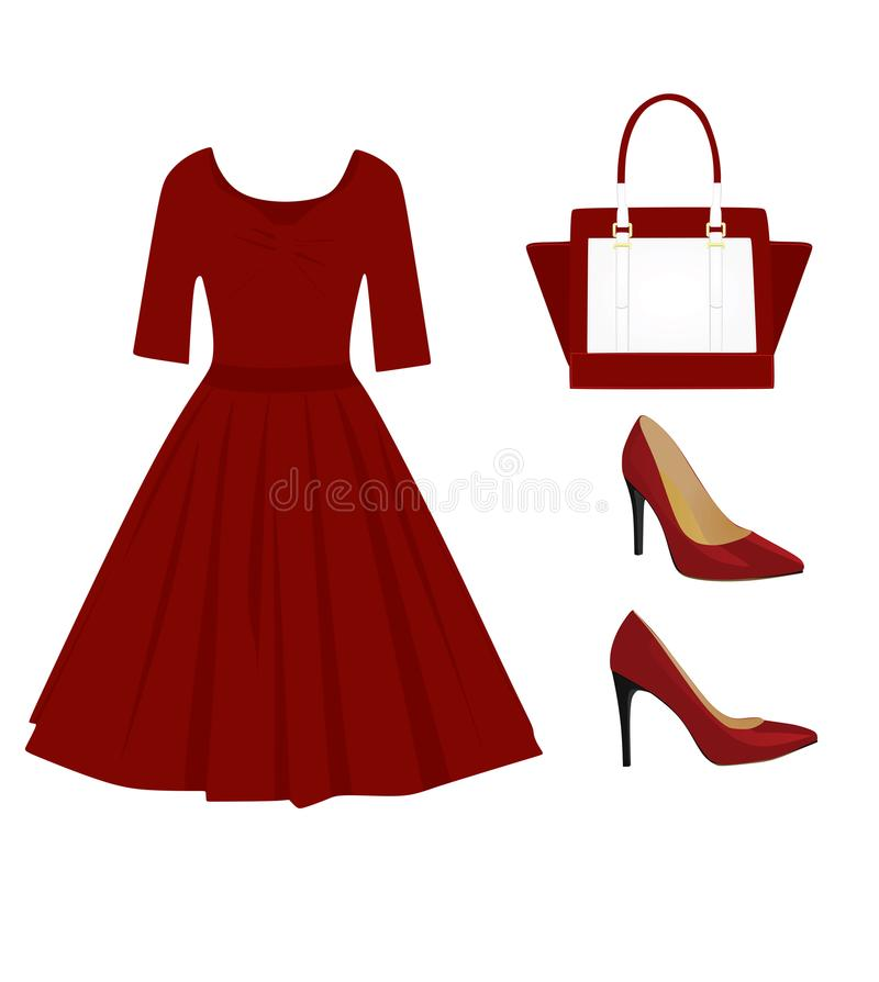 妇女红色成套装备集合 库存例证