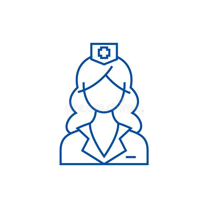 妇女线象概念医生,护士 妇女标志,标志,概述例证医生,护士平的传染媒介 皇族释放例证
