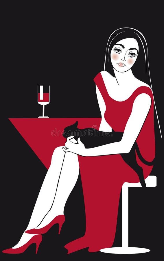 妇女美丽在红色和恶意嘘声 皇族释放例证