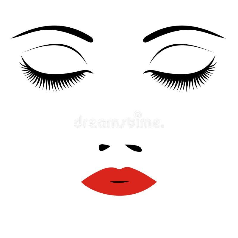 妇女美丽的闭合的眼睛 向量 库存例证