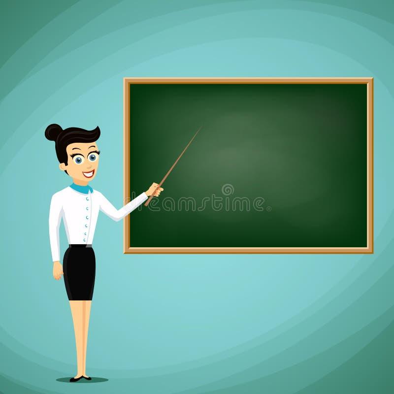 妇女老师在黑板的展示尖 回到学校 股票 库存例证