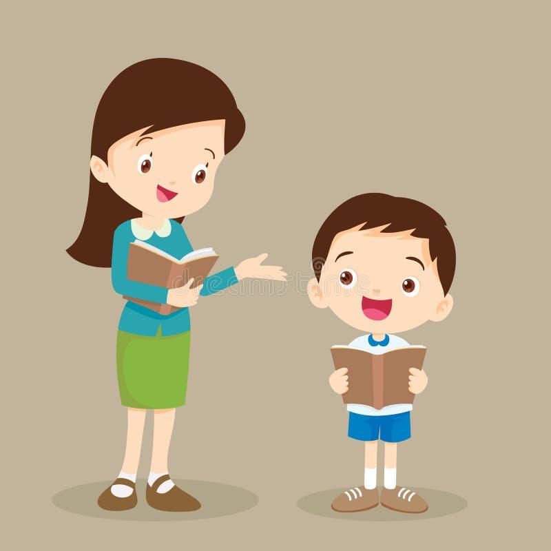 妇女老师辅导学生读书