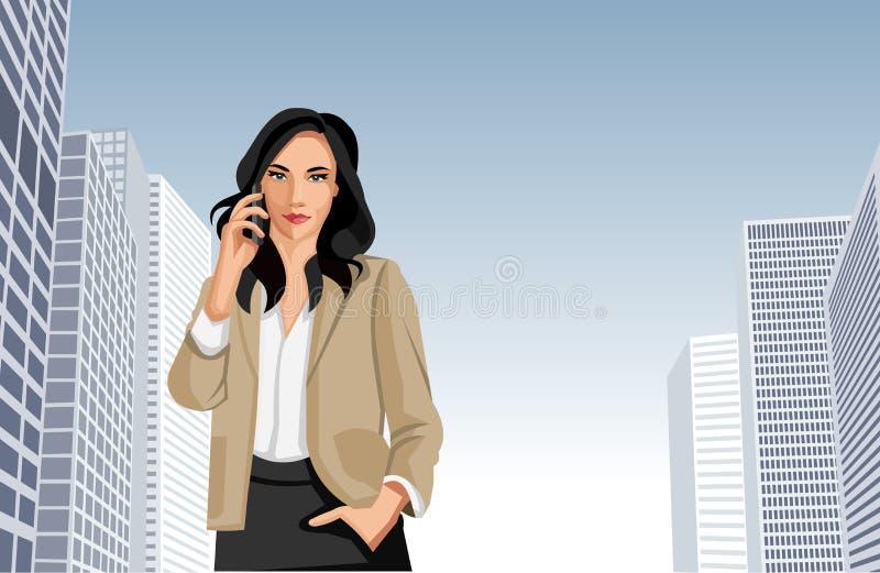 妇女联系在移动电话 库存例证