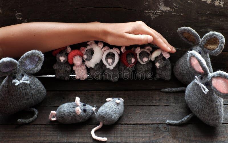 妇女胳膊拿着毛线灰色老鼠,微小的鼠手工制造产品 图库摄影