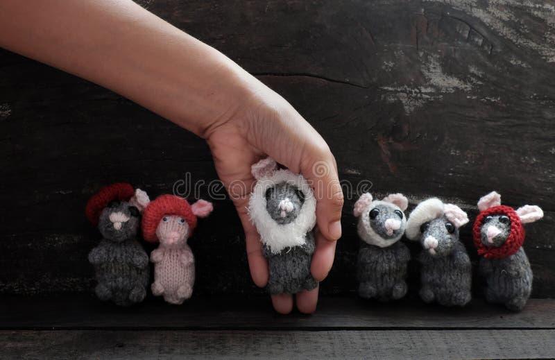 妇女胳膊拿着毛线灰色老鼠,微小的鼠手工制造产品 免版税图库摄影