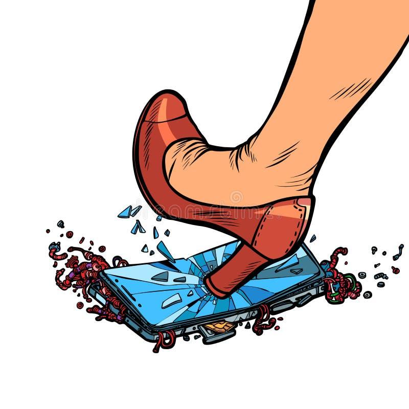 妇女脚跟捣毁在白色背景的手机屏幕孤立 皇族释放例证