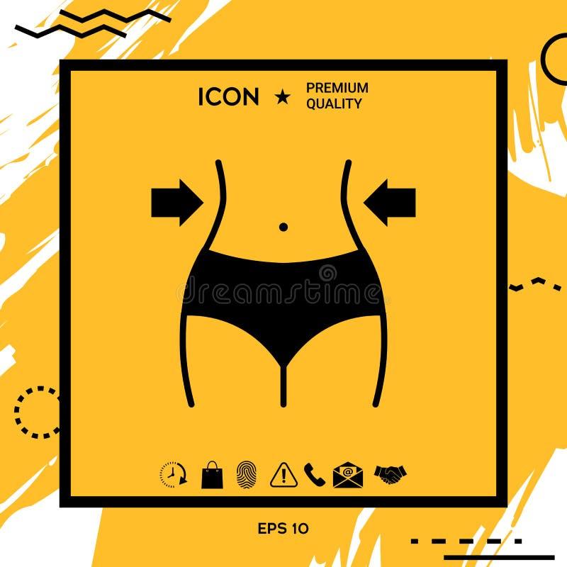 妇女腰部,减重,饮食,腰围象 库存例证