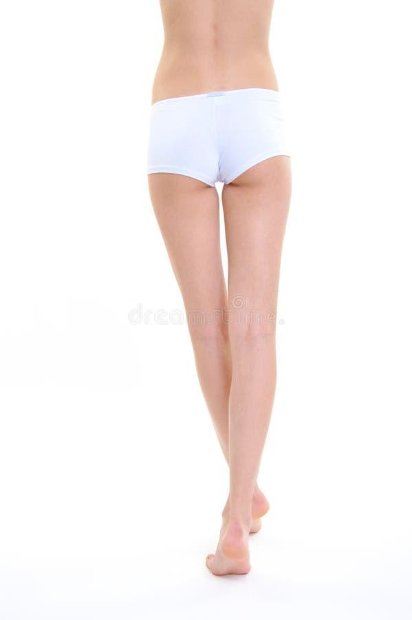 妇女腿完善形状护肤 免版税库存照片