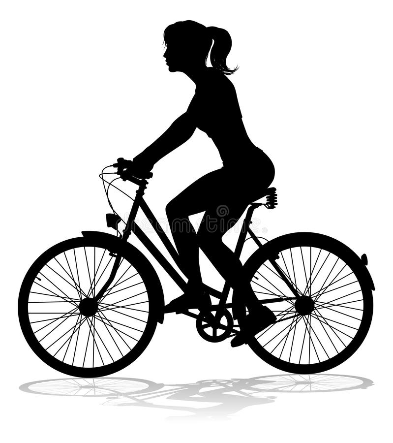 妇女自行车骑自行车者骑马自行车剪影 皇族释放例证