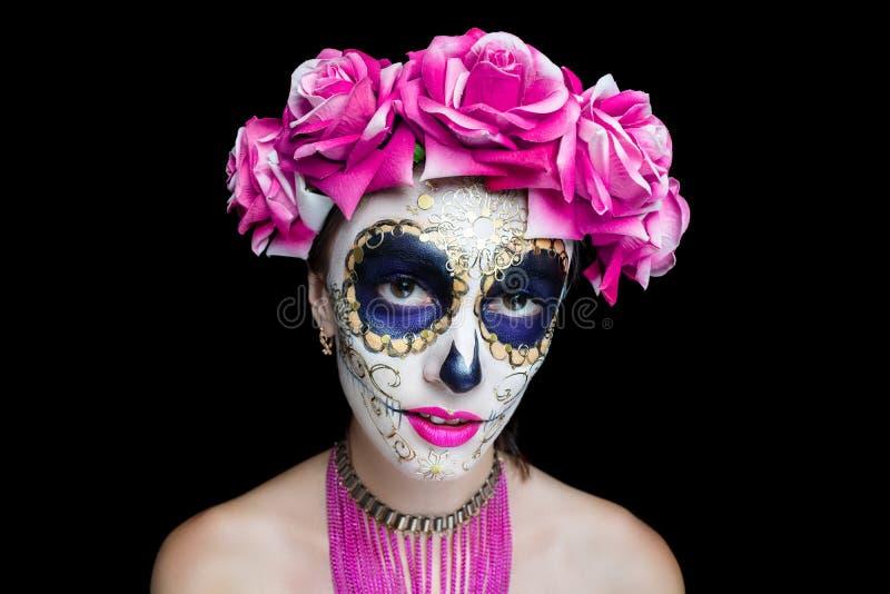 妇女艺术组成可怕头骨 库存图片