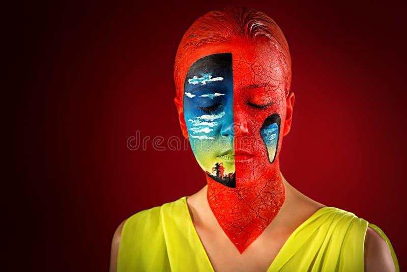 妇女艺术组成creatve 免版税库存照片