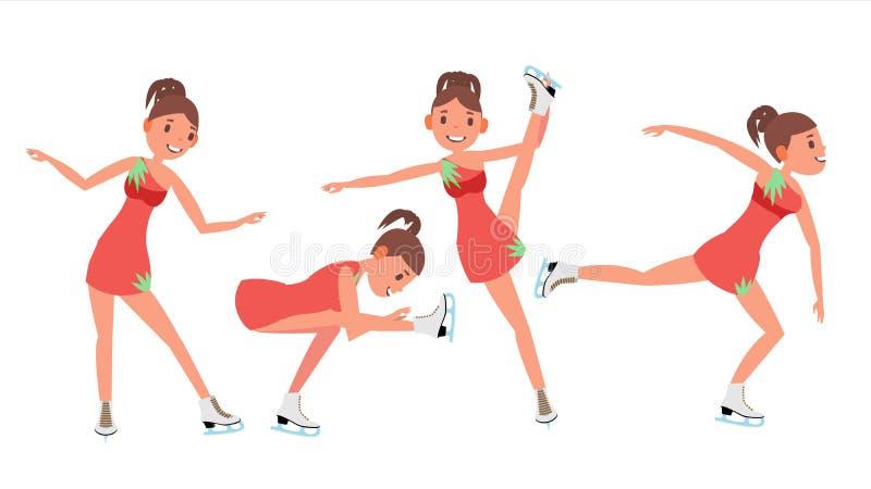 妇女花样滑冰运动员传染媒介 kiting的河滑雪多雪的体育运动冬天 溜冰者女性 不同的姿势 平的动画片例证 库存例证