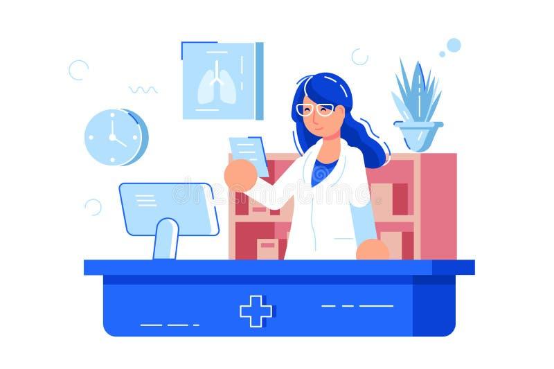 妇女药剂师读书食谱 向量例证