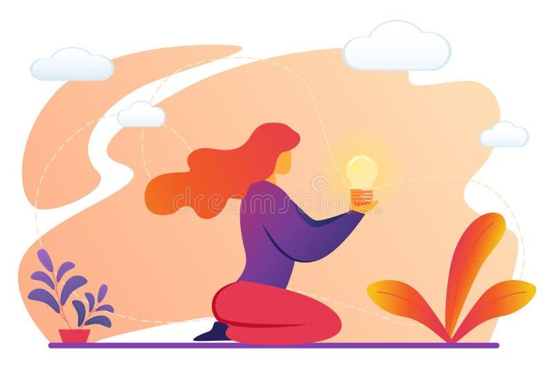 妇女藏品在手上照亮了电灯泡 向量例证