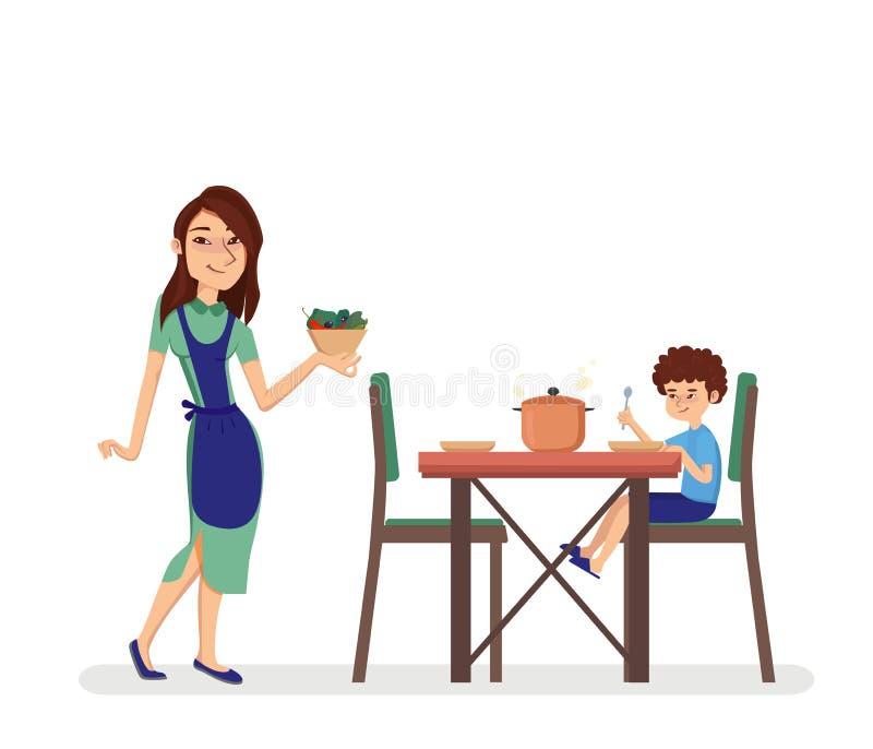 妇女藏品板材用食物 坐在饭桌上的男孩在厨房里 被隔绝的动画片样式传染媒介例证 向量例证