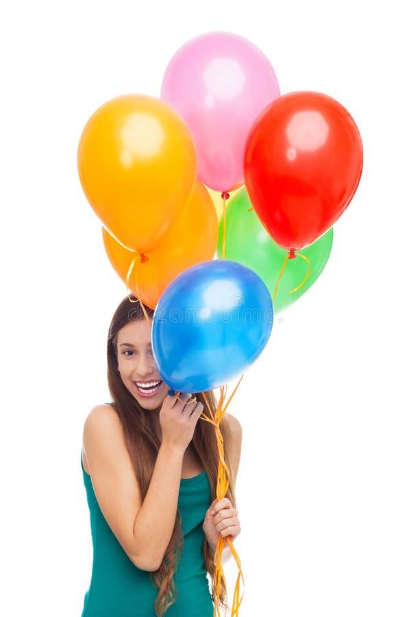 妇女藏品气球 免版税库存图片