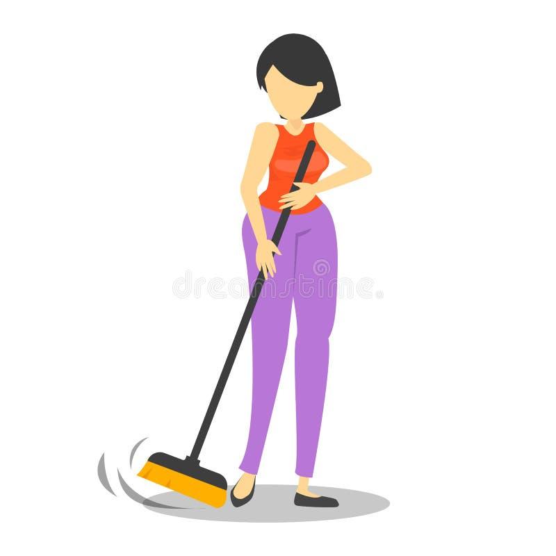 妇女藏品笤帚和在家清洗地板 向量例证