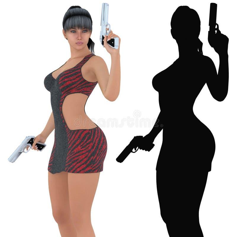 妇女藏品装载了手枪, 3d数位被回报的例证 皇族释放例证