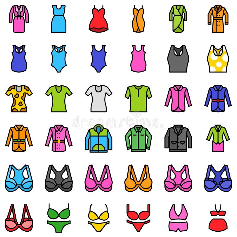 妇女衣物传染媒介象集合,填装了样式编辑可能的概述 向量例证