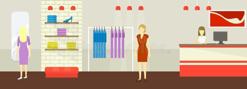 妇女衣物和鞋子精品店商店的内部一个平的样式的 妇女s服装店的顾客 向量 向量例证