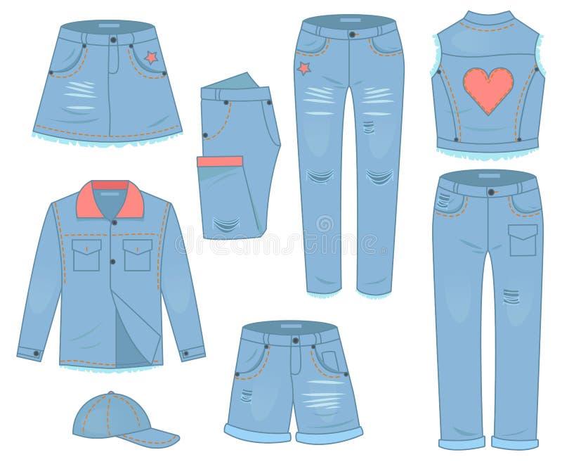 妇女衣物套蓝色牛仔裤 时尚设计都市便装样式 皇族释放例证