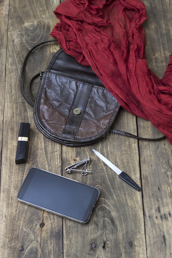 妇女袋子材料,提包 免版税图库摄影