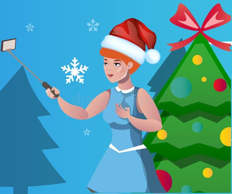 妇女被拍摄反对圣诞树背景  库存例证