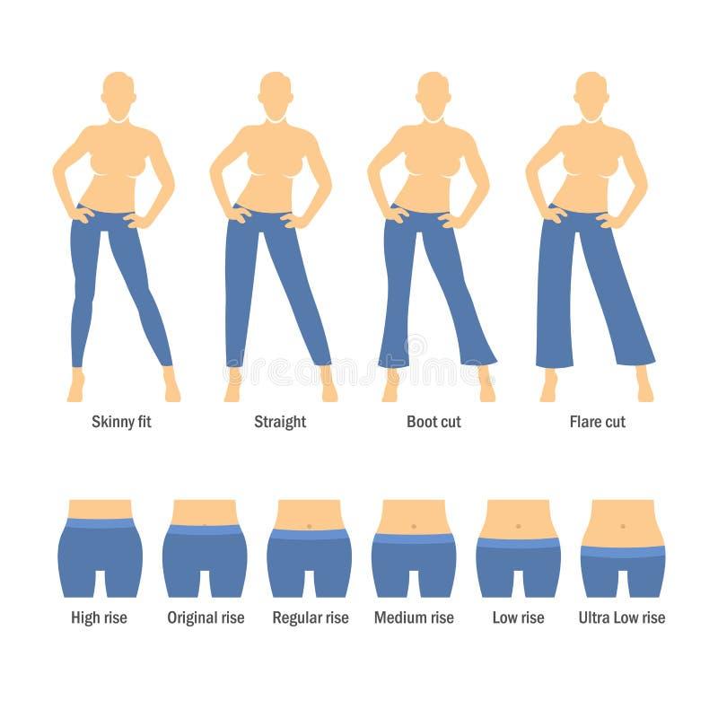 妇女被设置的牛仔裤类型 皇族释放例证