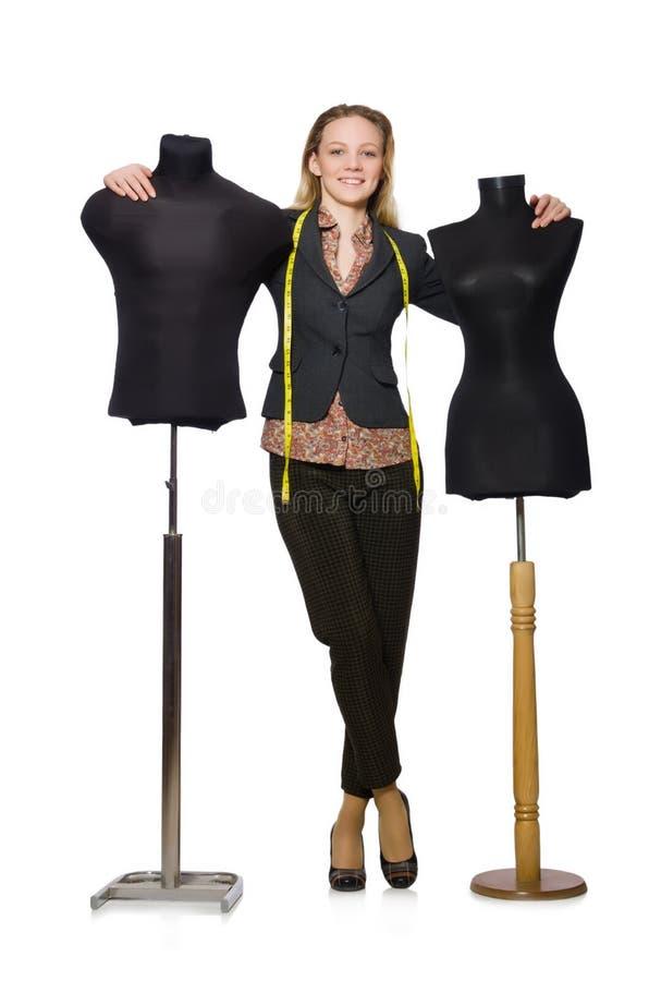 妇女裁缝 免版税库存图片