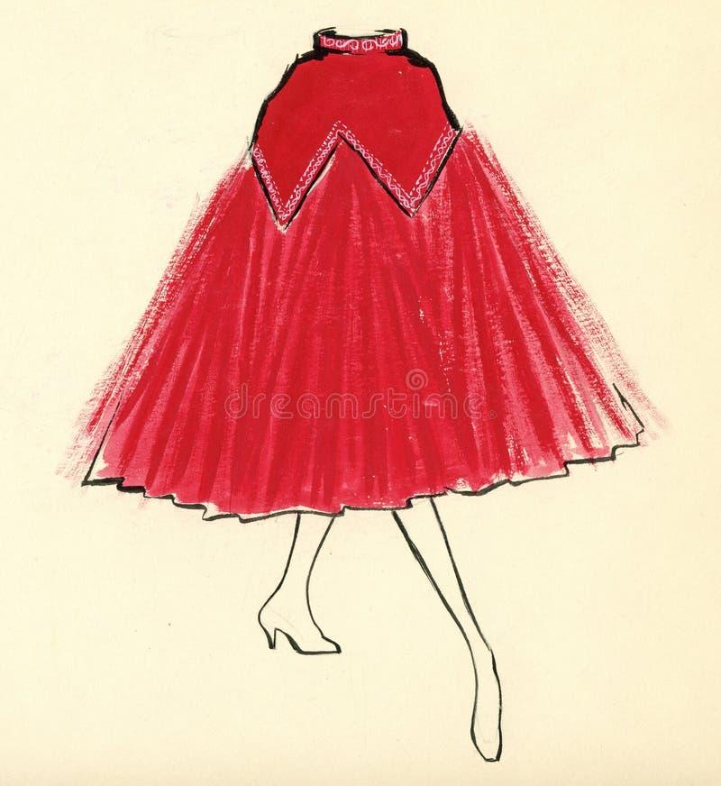妇女裙子的草图 库存例证