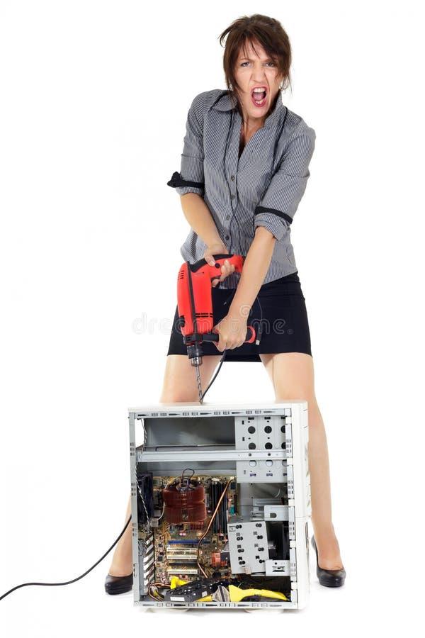 妇女计算机驱除剂 免版税图库摄影