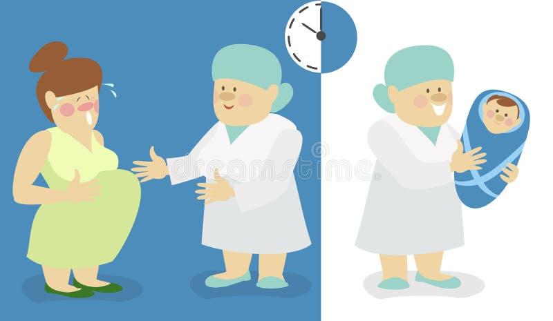 妇女诞生,有一个新出生的男婴的一位护士 向量例证