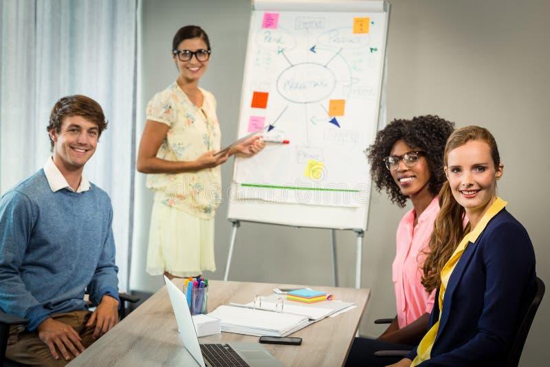 妇女谈论在白板的流程图与工友 免版税库存图片