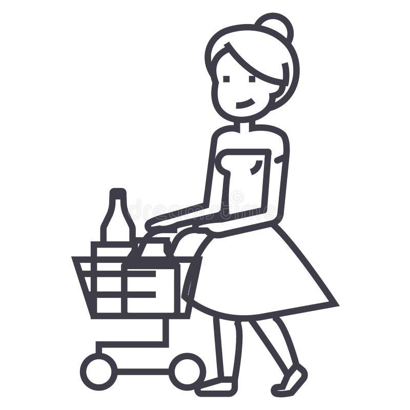 妇女购物在有推车传染媒介线的象,标志,在背景,编辑可能的冲程的例证超级市场 皇族释放例证