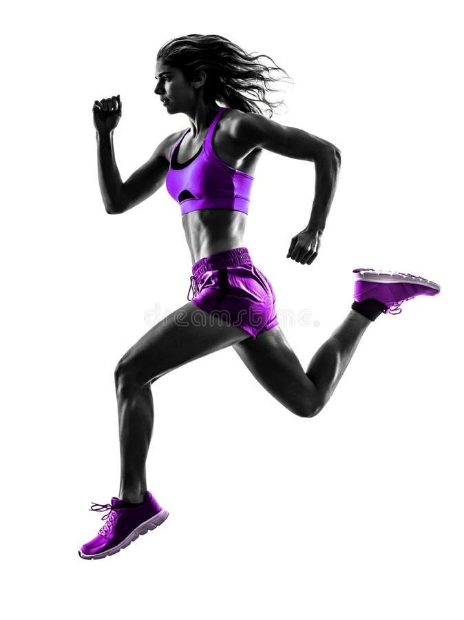 妇女赛跑者连续慢跑者跑步的剪影 库存照片