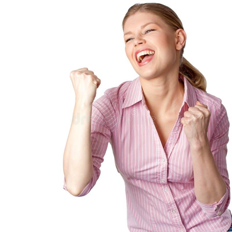 妇女赢取的成功 免版税库存照片
