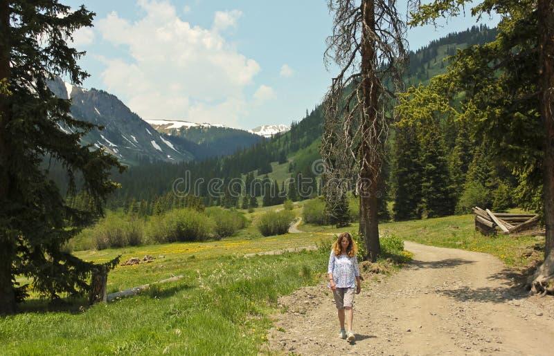 妇女走在高山圈Backcountry小路的一条路 免版税库存图片