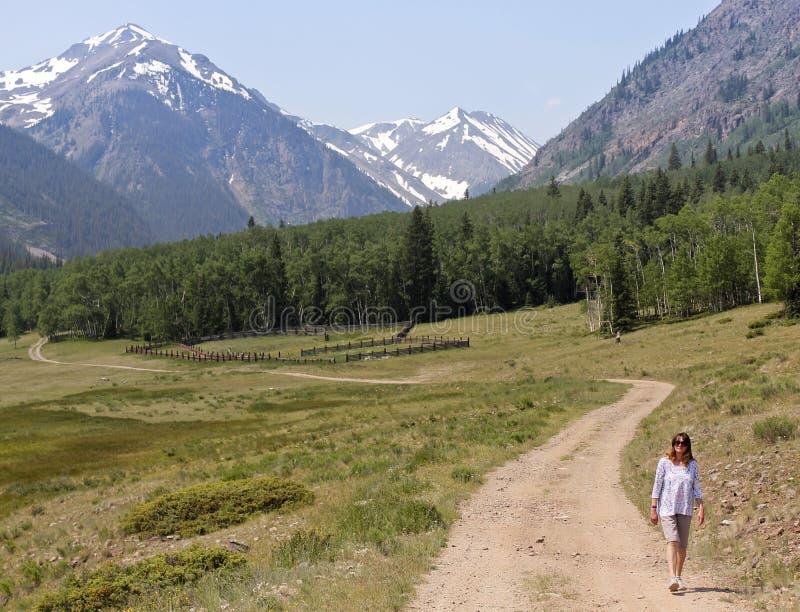 妇女走在高山圈Backcountry小路的一条路 免版税图库摄影