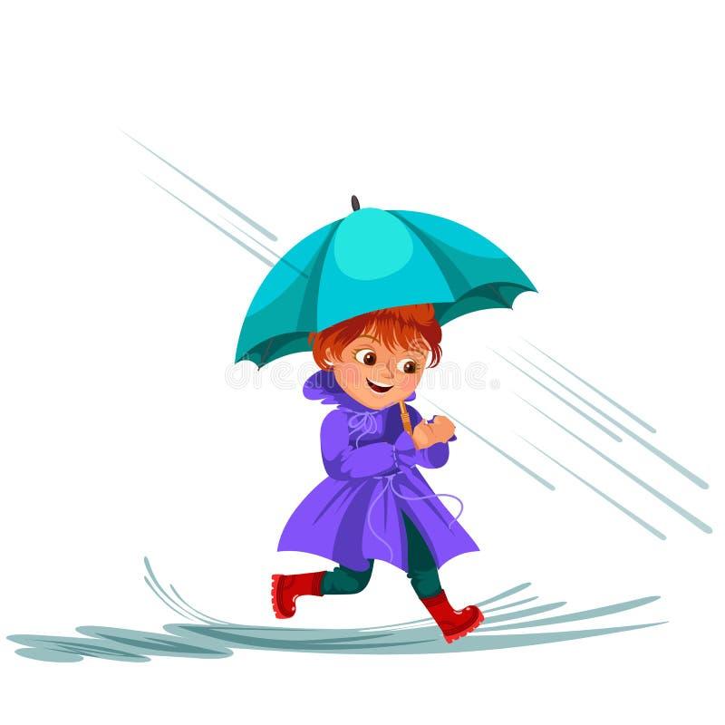 妇女走的雨用伞手,滴下入水坑,女孩防水夹克胶靴的雨珠下 库存例证