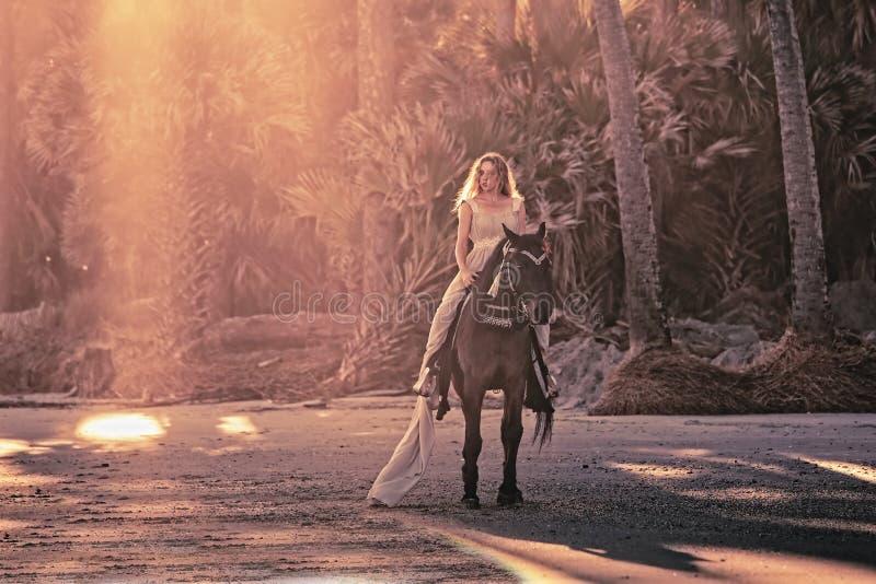 妇女超现实的梦想场面马的 免版税库存照片